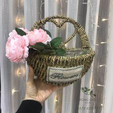 Giỏ cói đựng hoa, giỏ đựng đồ hình quai trái tim Mã 4