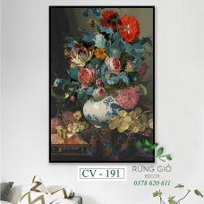 Khung tranh vải canvas bình hoa cổ điển kiểu Bắc Âu (CV191)