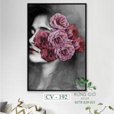 Khung tranh vải canvas cô gái và hoa (CV192)