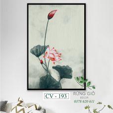 Khung tranh vải canvas hình hoa sen tông màu trầm (CV193)