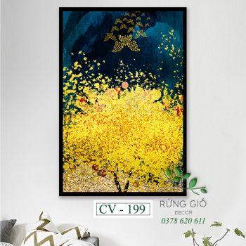Khung tranh vải canvas hình cây vàng lá ánh kim (CV199)