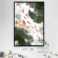 Khung tranh vải canvas hình đàn cá dưới đầm sen (CV201)
