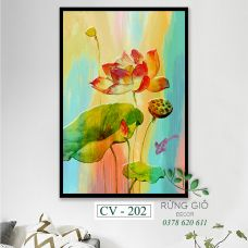 Khung tranh vải canvas hình hoa sen màu nước (CV202)