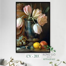 Khung tranh vải canvas hình lọ hoa nghệ thuật phương tây (CV203)