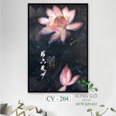 Khung tranh vải canvas hình hoa sen trầm mặc (CV204)