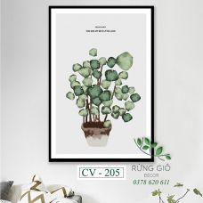 Khung tranh vải canvas hình green plants (CV205)