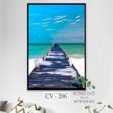 Khung tranh vải canvas hình biển xanh (CV206)