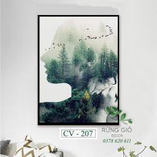 Khung tranh vải canvas hình ảnh phơi sáng kép cô gái và rừng cây độc đáo (CV207)