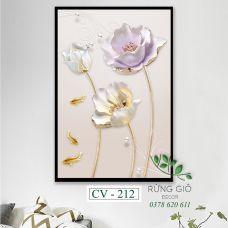 Khung tranh vải canvas hình hoa trắng mềm mại (CV212)