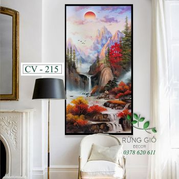 Khung tranh vải canvas hình thác nước (CV215)