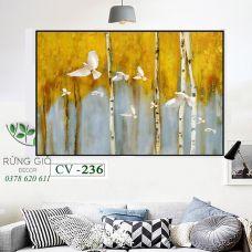 Khung tranh vải canvas tranh đàn chim bay giữa cánh rừng vàng (CV236)