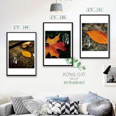 Khung tranh vải canvas hình lá vàng mùa thu (CV149-150-151)