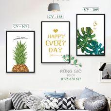 Khung tranh vải canvas happy everyday (CV167-168-169)