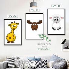 Khung tranh vải canvas hình 3 thú dễ thương (Mã CV24-25-26)