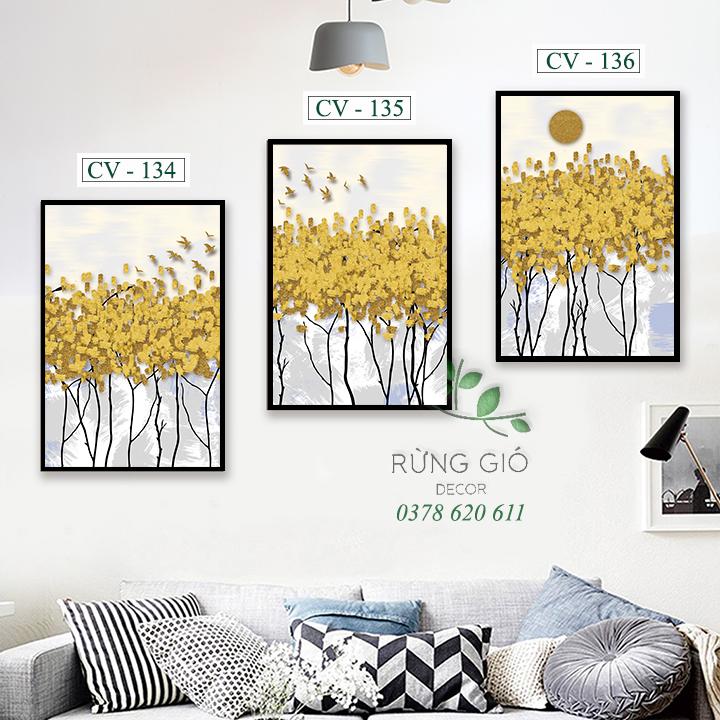 tranh vải canvas hình lá vàng trừu tượng